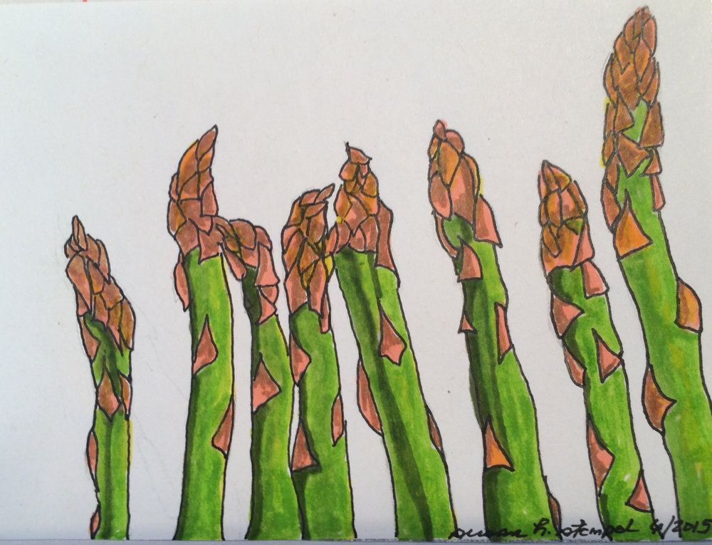 """$500, 4"""" x 6"""" pen & ink on paper. """"All in a Row""""."""