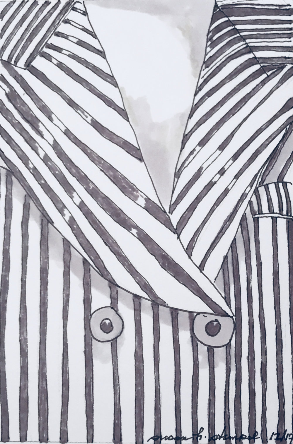 """$300.  5"""" x 7"""" pen & ink on paper, Armani at MOMA."""