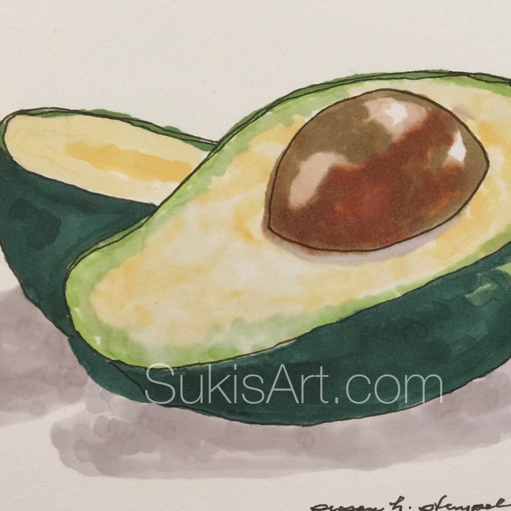 "$300. 5"" x 7"" pen & ink on paper.  ""Sliced Avocado"" 5"