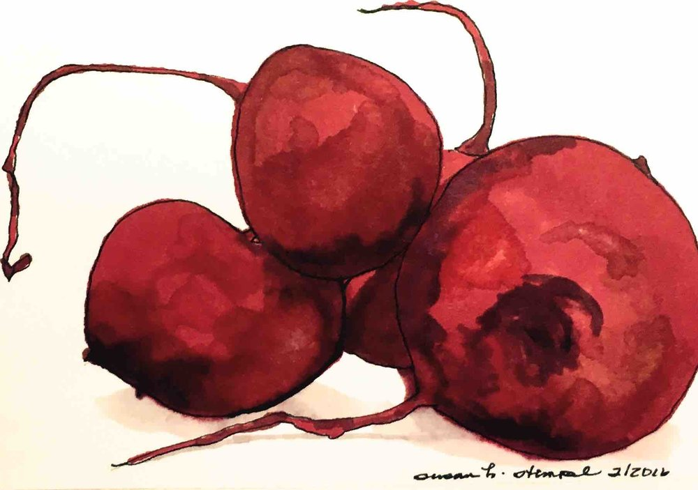 """SOLD  4"""" x 6"""", pen & ink on paper, """"Earthy Radishes"""""""
