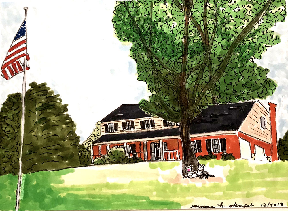 """SOLD.  5"""" x 7"""".  pen & ink on paper.  """"Family Homestead"""""""
