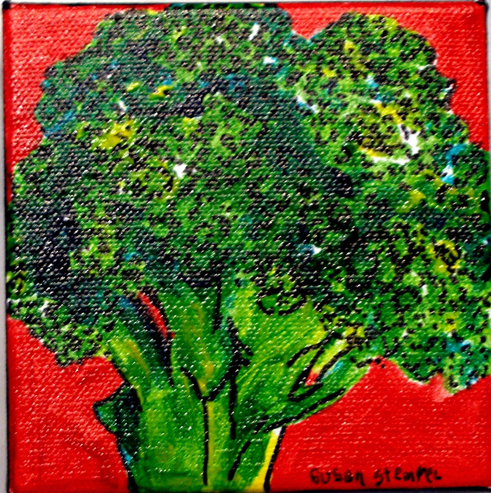 "SOLD. 4"" X 4"" acrylic on boxed canvas ""Broccoli on red."""