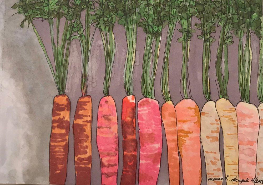 "$300.  5"" x 7"" pen & ink on paper. ""Carrot Rainbow"""