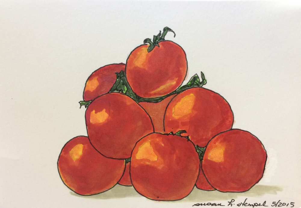 """$300. 4"""" x 6"""" pen & ink on paper. """"A Pile of Tomatoes"""""""