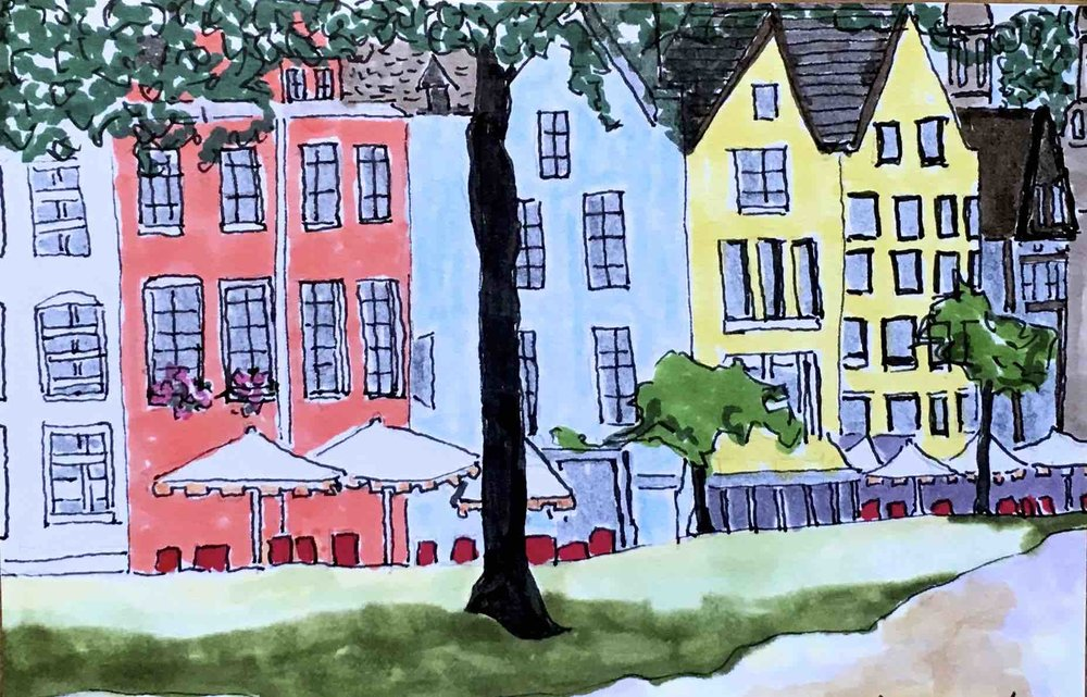 "$300.  5"" x 7"",  pen & ink on paper.  Cologne, Germany street scene."