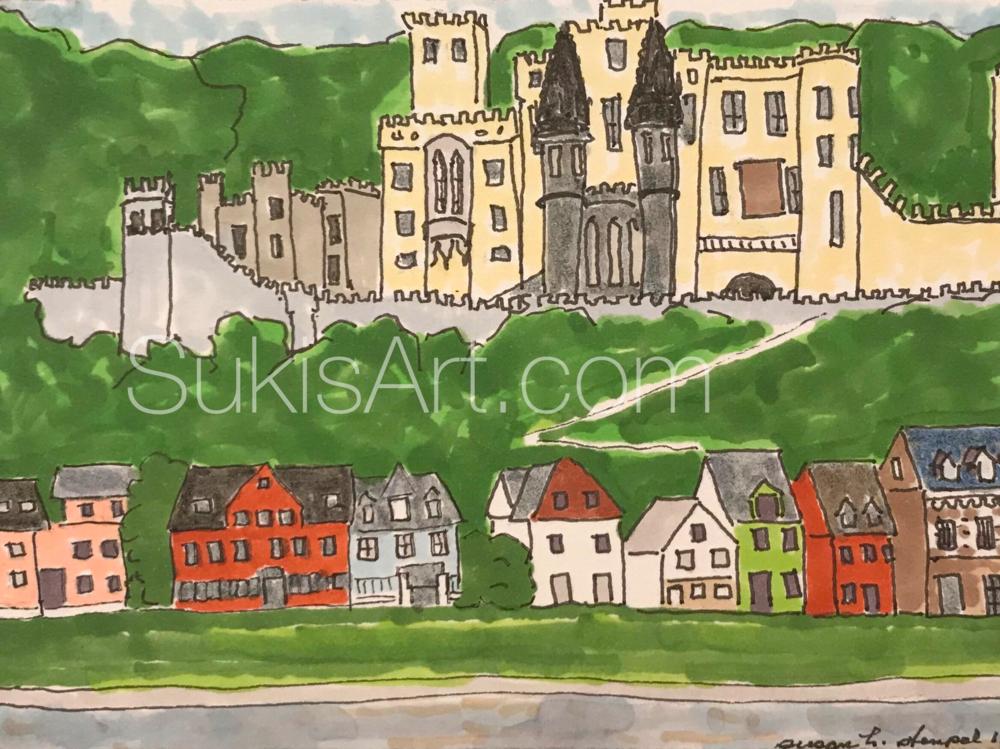 "$300.  5"" x 7"" pen & ink on paper. ""The Rhine near Lahnstein"""