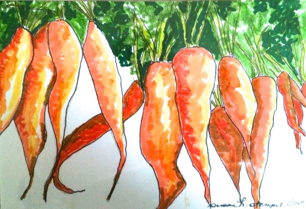 "SOLD  4"" x 6"" pen & ink on paper. ""Dancing carrots"""