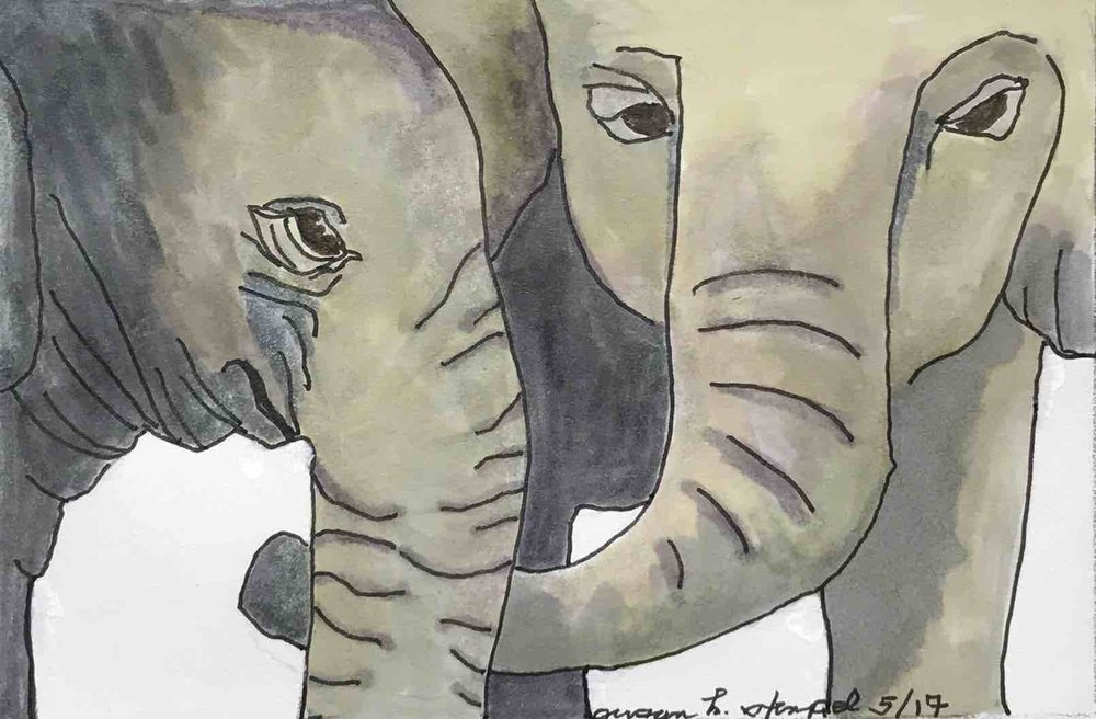"""SOLD.  5"""" x 7"""" pen & ink on paper.  """"Elephant Love"""""""