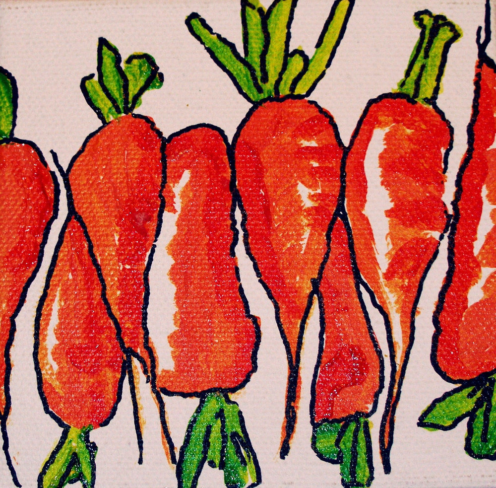 """SOLD 4"""" x 4"""" acrylic on canvas  """"Fat Carrots"""""""