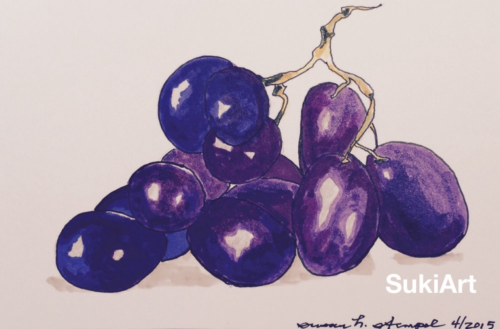 "SOLD. 4"" x 6"" pen & ink on paper.  ""Group of grapes"""
