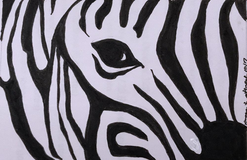 "$300. 5"" x 7"" pen & ink on paper  ""Eye of the Zebra"""