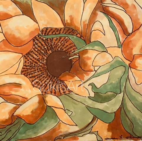 """$300.  5"""" x 7"""" pen & ink on paper. """"Late Sunflower"""""""