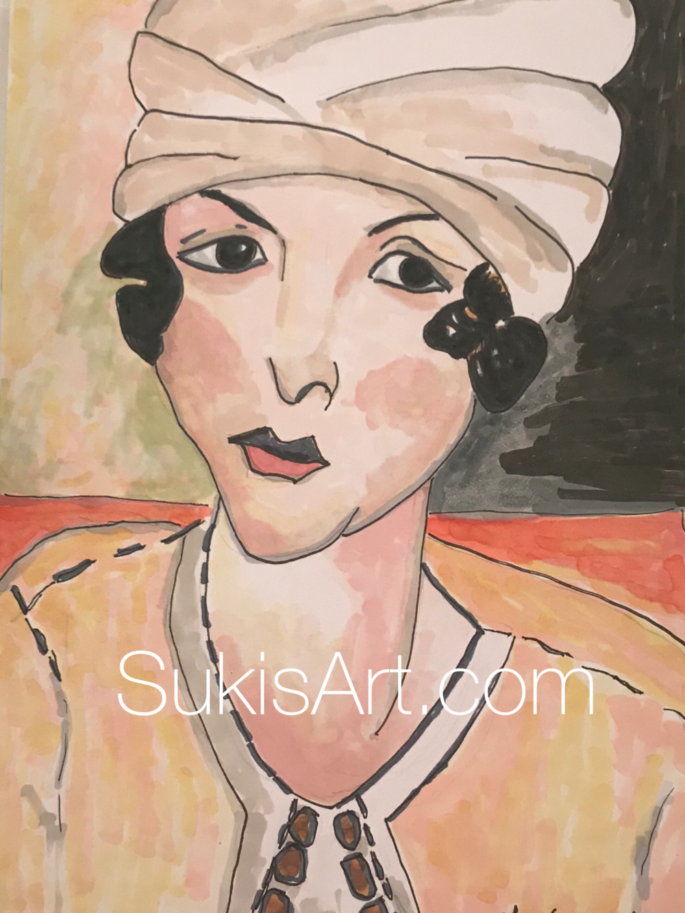 """$300 5"""" x 7"""" pen & ink on paper.  """"A study of Matisse's 'Lorette in Turban with yellow vest.'"""""""