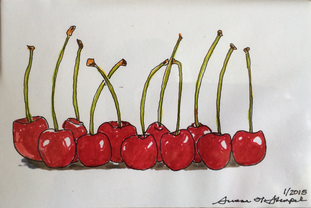 "SOLD. 4"" x 6"" pen & ink on paper.  ""A line of cherries"""