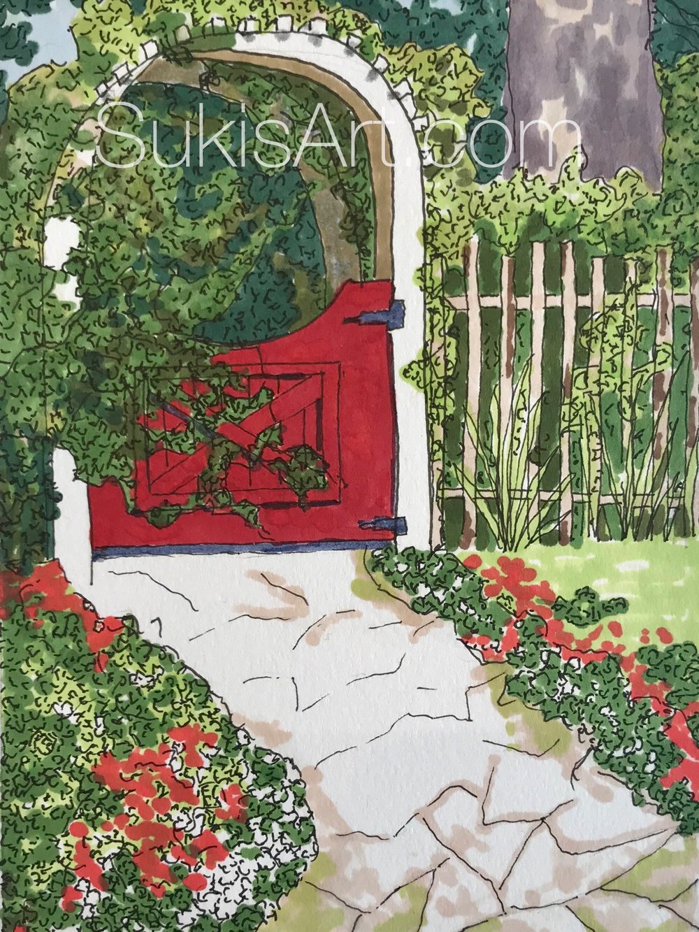 "SOLD  5"" 7"" pen & ink on paper.  ""Naomi's Garden Gate."""
