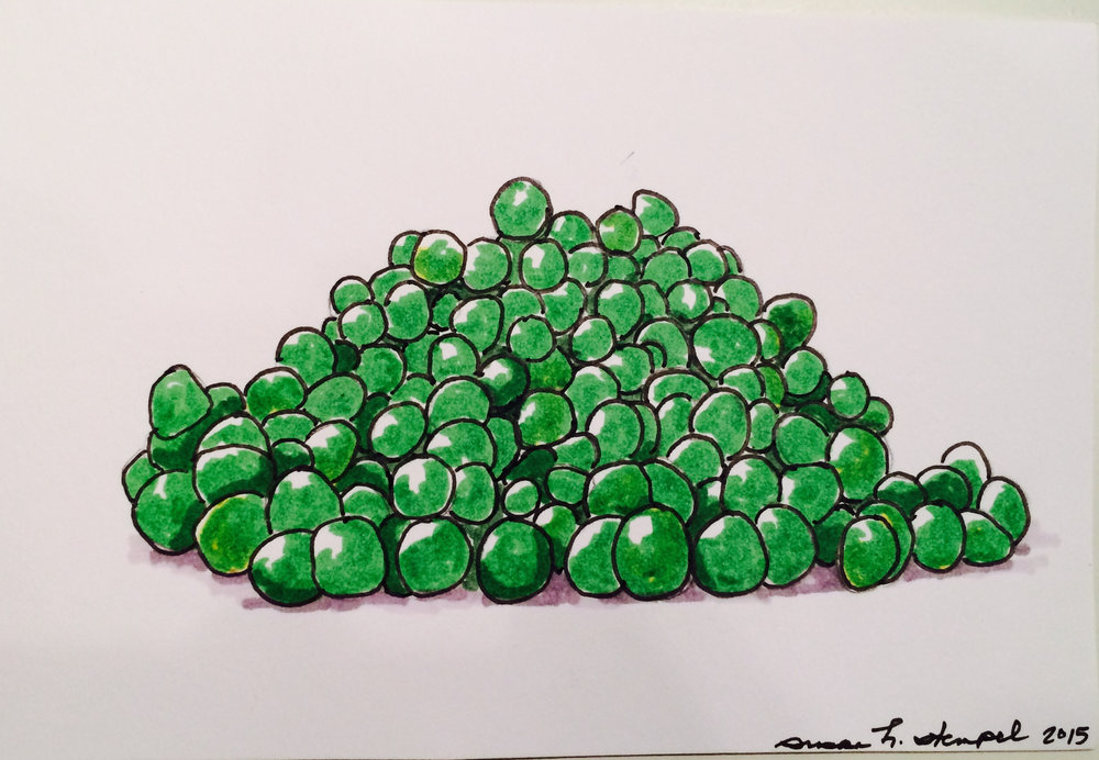 "SOLD.  4"" x 6"" pen & ink on paper.  ""More peas please""."