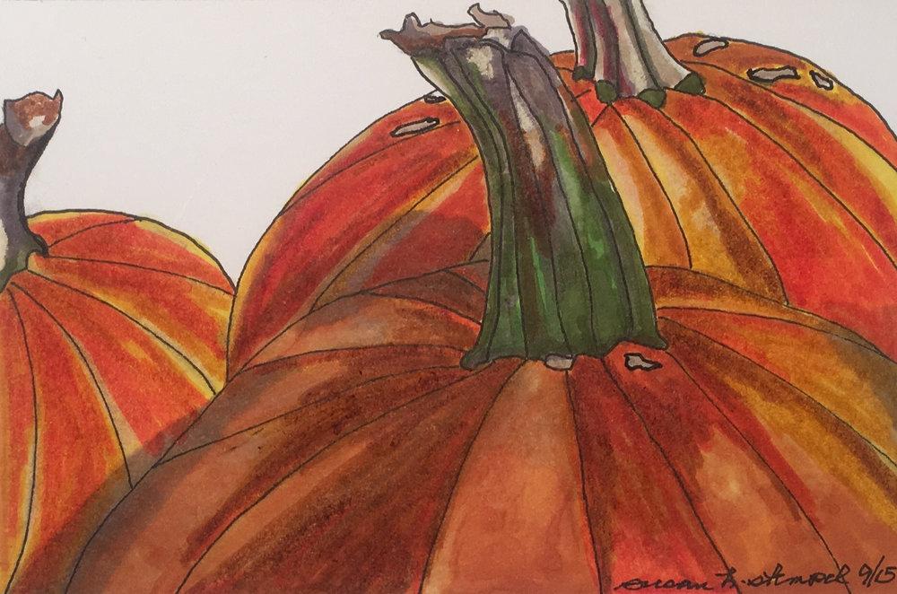"SOLD  4"" x 6"" pen & ink on paper ""Pumpkin time"""