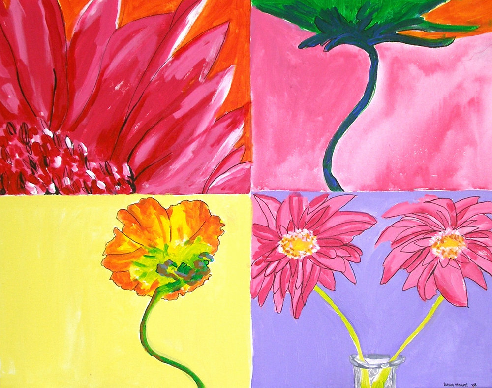 """$2,500. 20"""" x 30"""" acrylic on canvas """"A quadrant of blooms"""""""