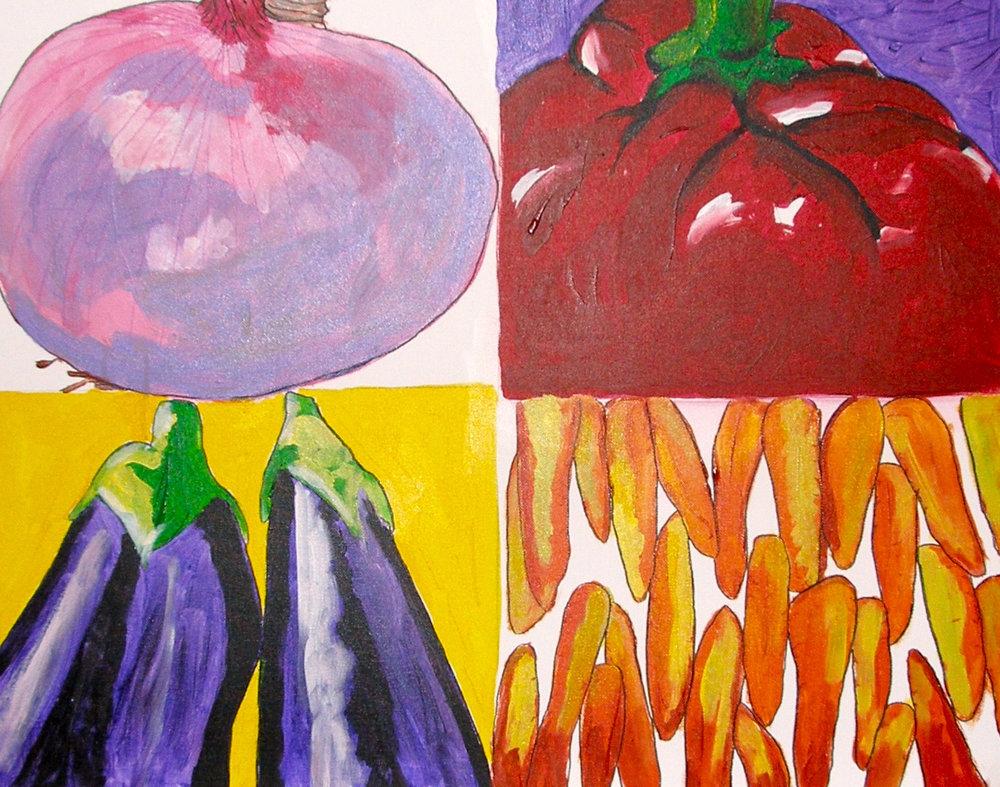 "$2,500.  20"" x 30"" acrylic on canvas. ""A quadrant of veggies."" 1"