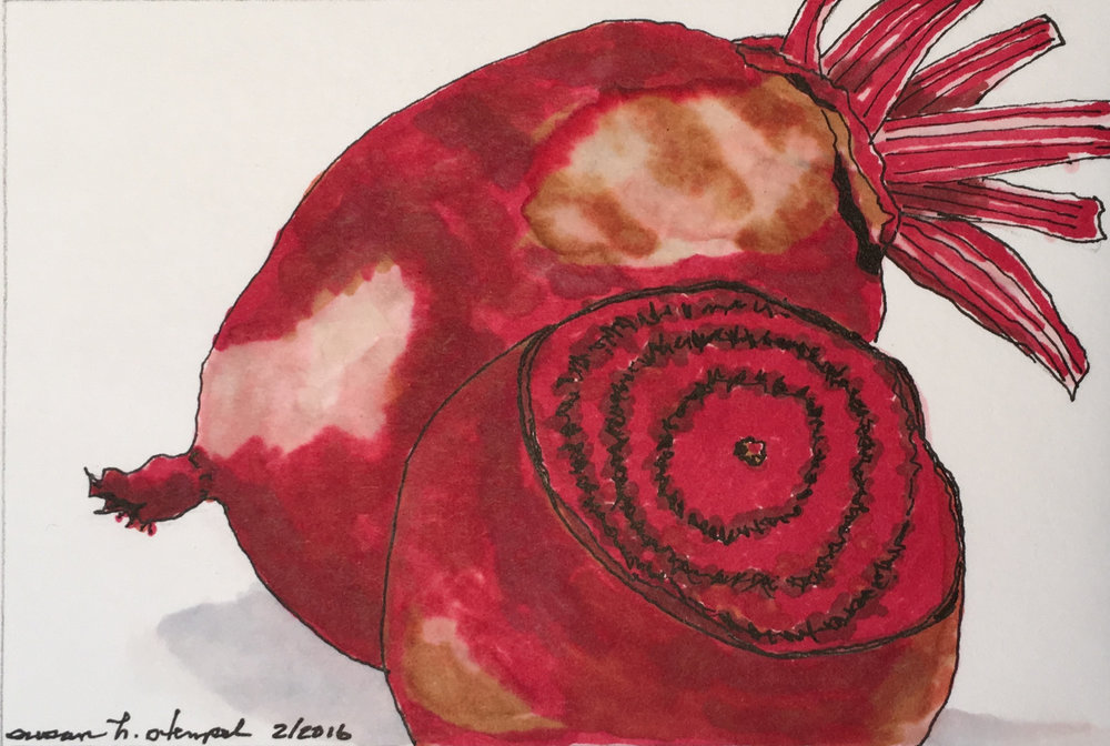 """SOLD 4"""" x 6"""" pen & ink on paper. """" Beets"""""""