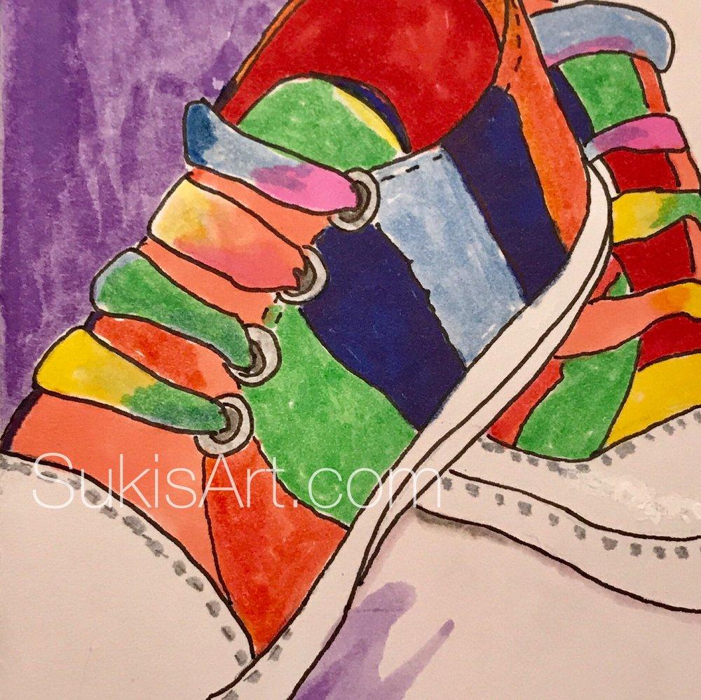 "$300. 5"" x 7"" pen & ink on paper  ""Rainbow tennies"""