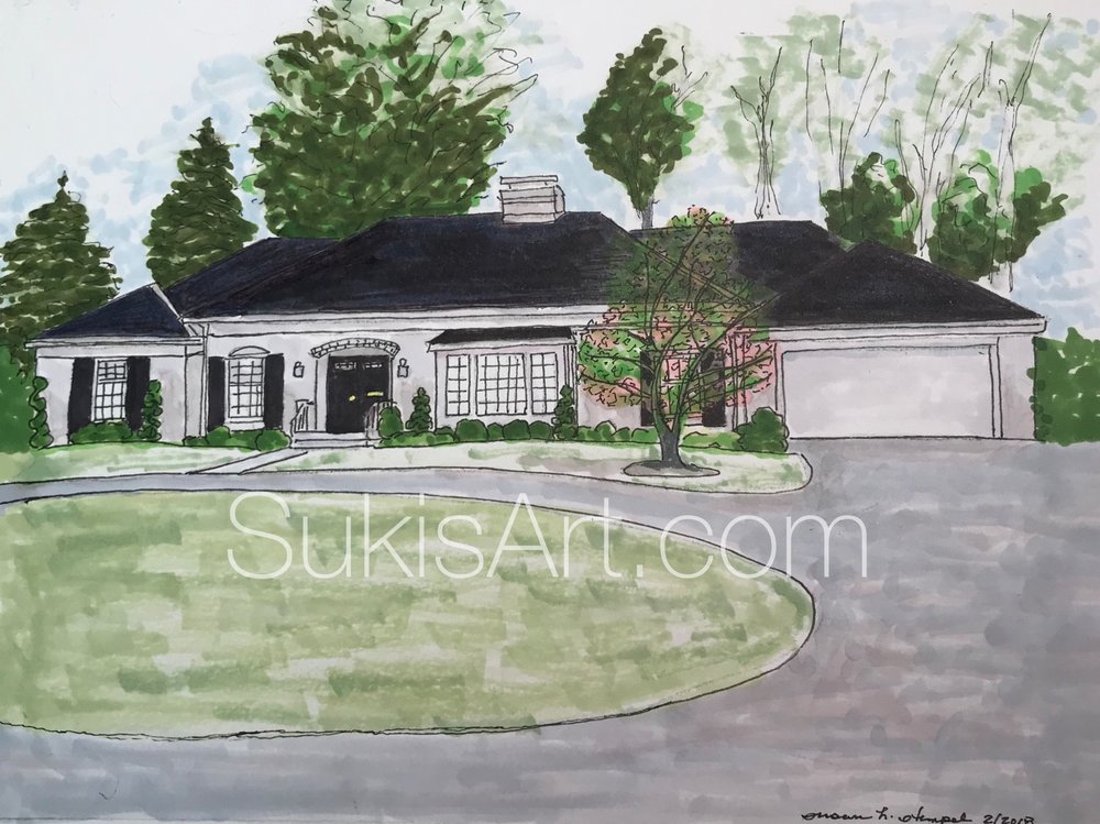"""SOLD.  8"""" x 10"""" mixed media on paper.  """"Rose House""""."""
