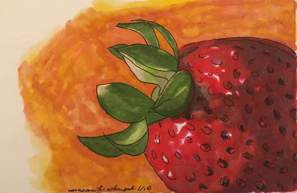 "$300.  5"" x 7"" pen & ink on paper. ""Strawberry on orange"""