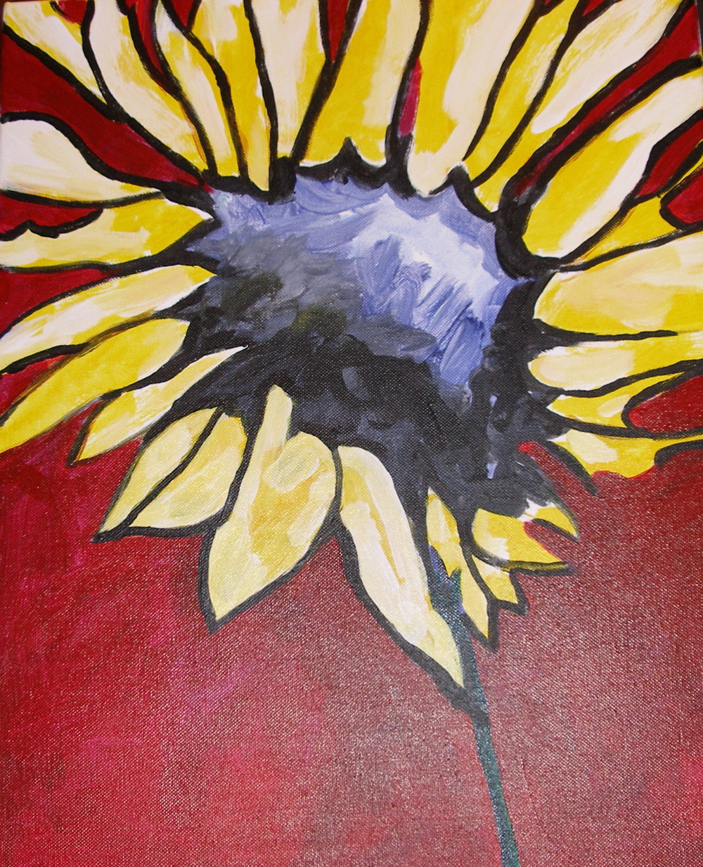 "$2,000. 16"" x 20"" acrylic on canvas. ""In full bloom"""