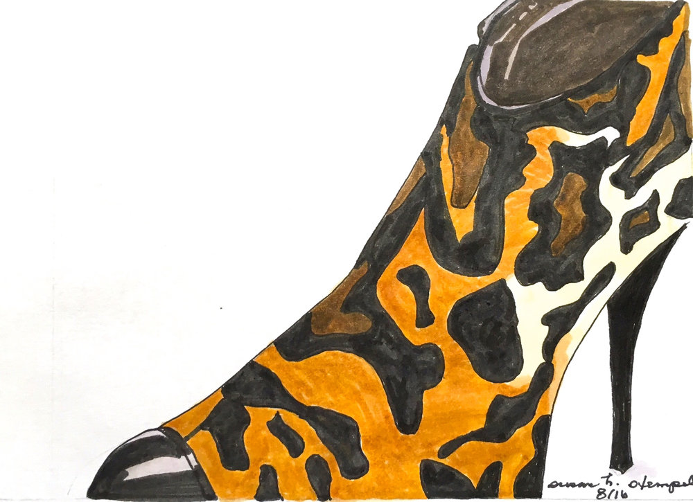 """SOLD 4"""" x 6"""" pen & ink on paper.  """"Walking on the Wild Side"""""""