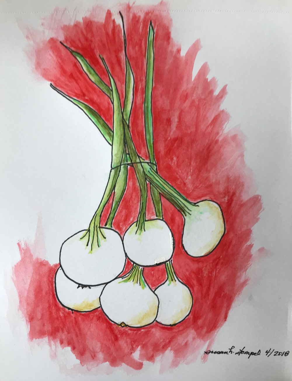 """$300.  5"""" x 7"""" mixed media on paper. """"Spring onions"""""""