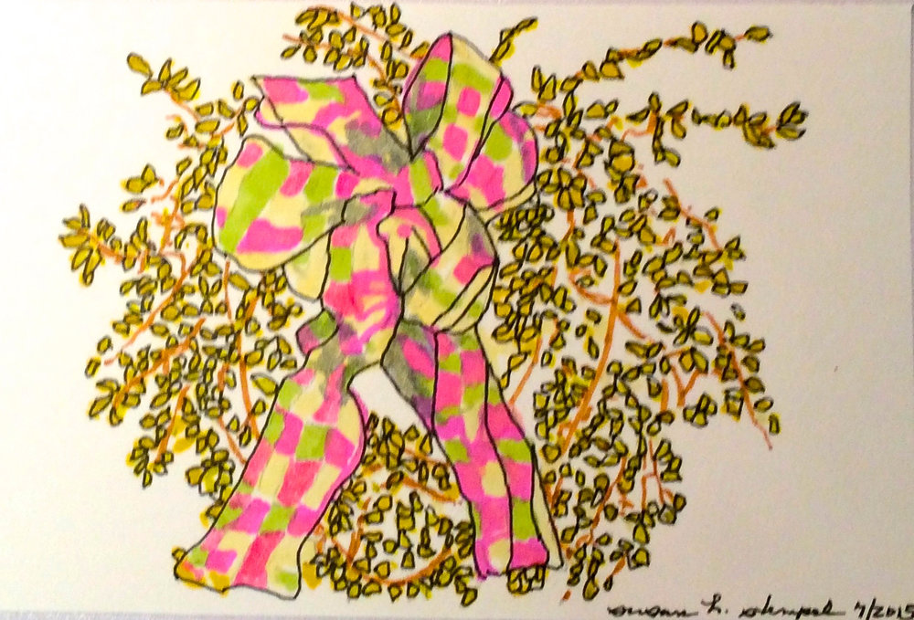 """$300.  4"""" x 6"""" pen & ink on paper.  """"Forsythia on our door"""""""