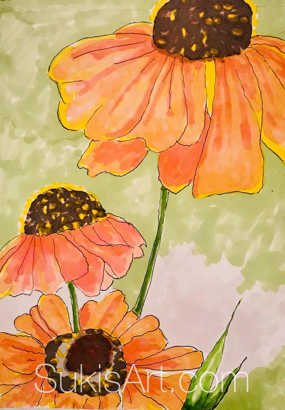 """$300. 5"""" x 7"""" pen & ink on paper """"Grace in bloom"""""""