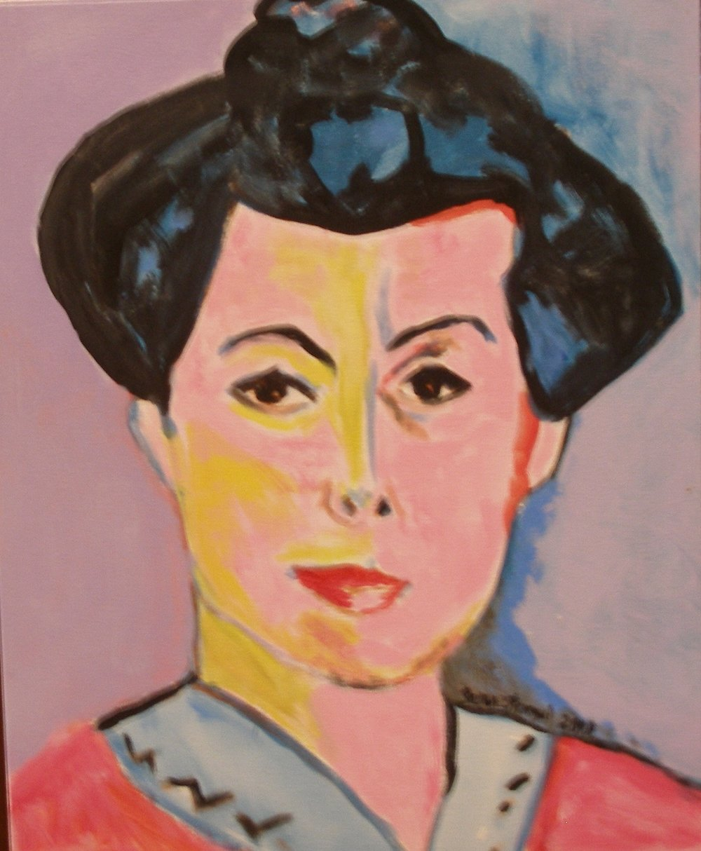 """$5,000. 16"""" x 20"""" acrylic on canvas w wood frame. """"A Study of Matisse's 'The Green Line'--Madame Matisse"""""""