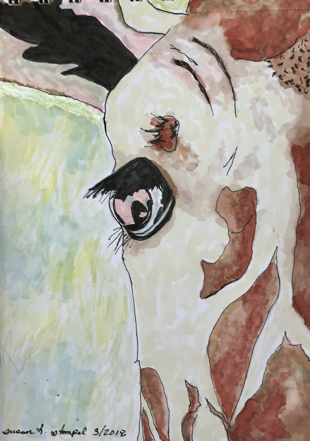 "$300.  5"" x 7"" mixed media on paper.  ""Eye of the Giraffe"""