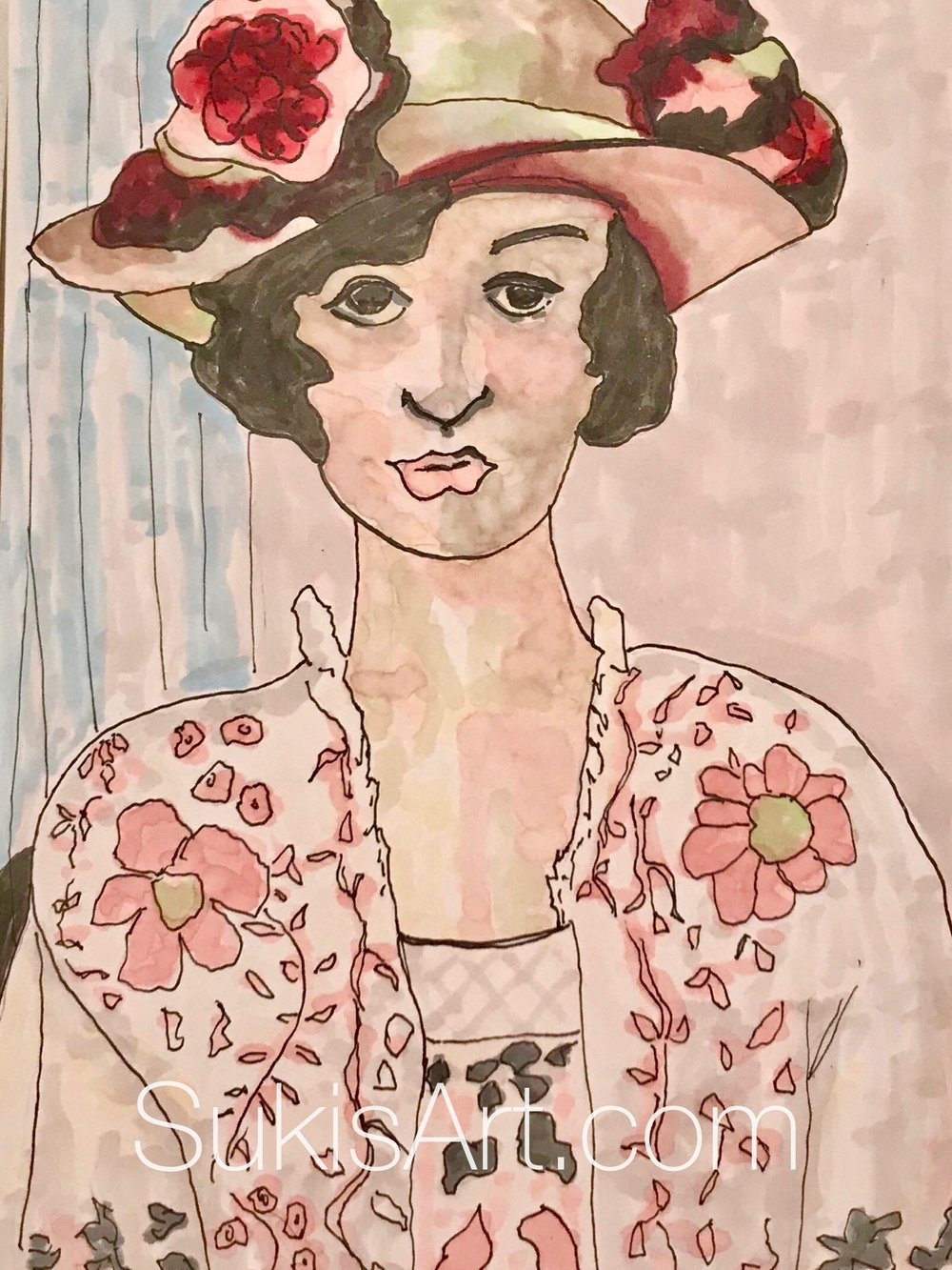 """The original by Matisse is titled """"Woman with a Flowered Hat"""" and is in oil. 1919 My version is pen & ink on paper, 2018.."""