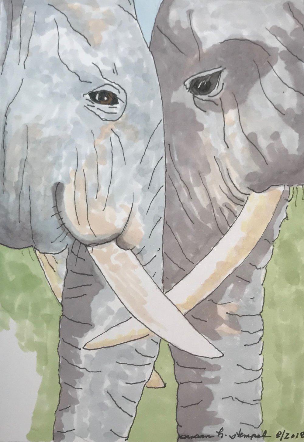 "$300.  5"" x 7"", pen & ink on paper. ""Elephant Love"""