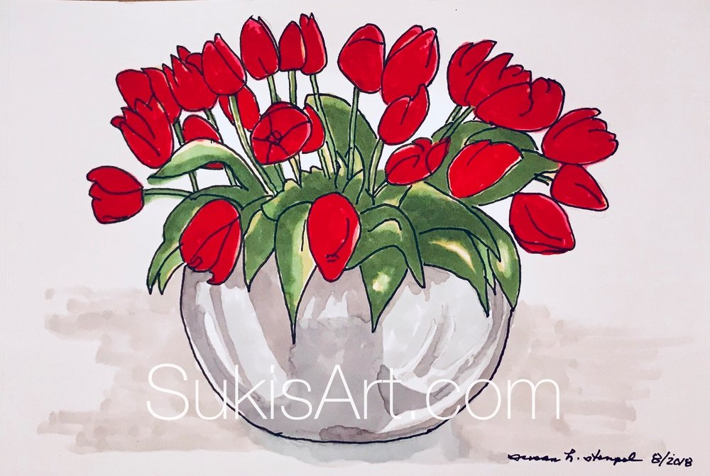 """$300.  5"""" x 7""""  pen & ink on paper. """"Red, red tulips"""""""