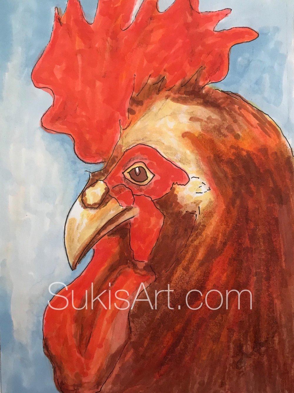 "$300.  5"" x 7"", Pen & ink on paper.  ""Rooster Splendor"""