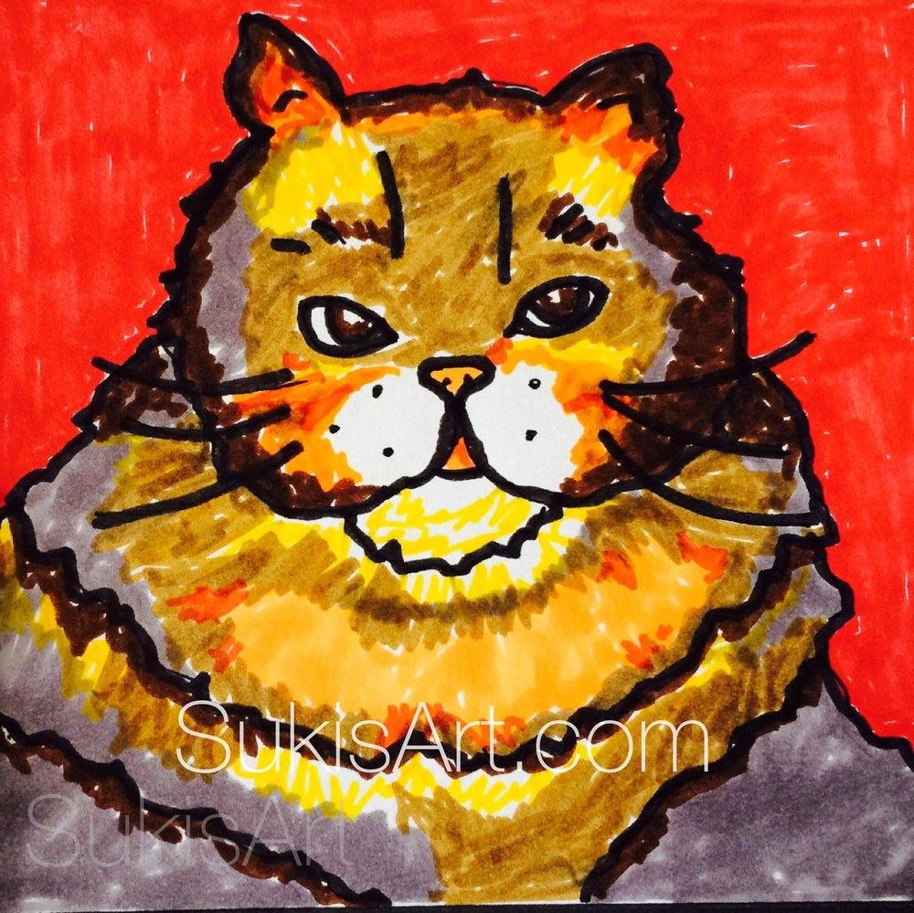 """$300.  4"""" x 4"""" acrylic on boxed canvas.  """"Fat Cat"""""""