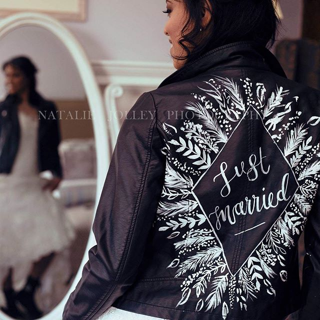 You guys love these jackets right now! I offer custom designs in colour or white with any wording of your choice, including bespoke designs. They make beautiful gifts or a wedding gift for yourself! 🖋