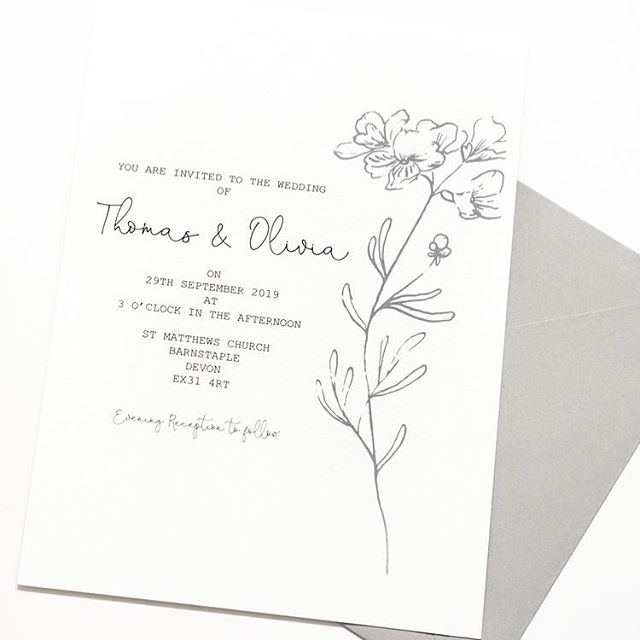 Your wedding stationery doesn't need to be over the top or full of lots of detail. Sometimes a simple sketch or piece does the trick 🖤