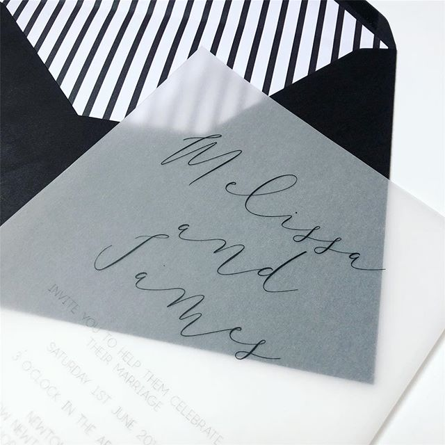 Vellum is very popular at the moment and a lovely way to bring monochrome details into your big day 🖤