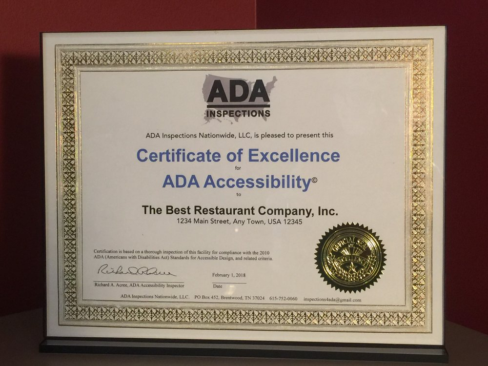 Example of ADAIN's Certificate of Excellence