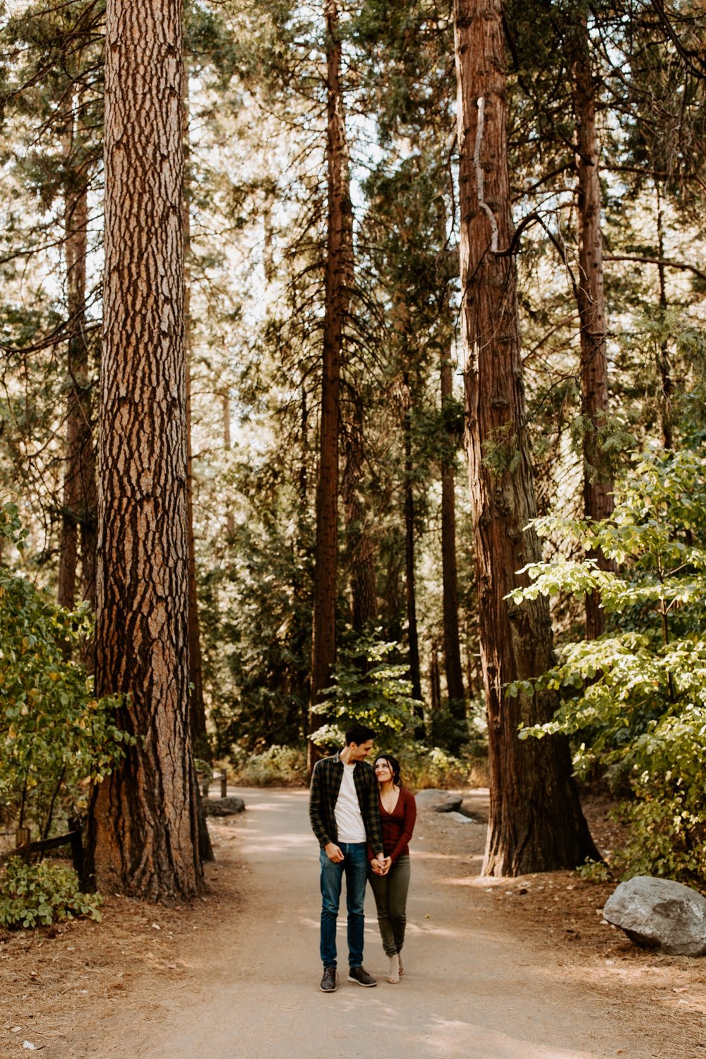 Couple standing in pine tree grove in Yosemite