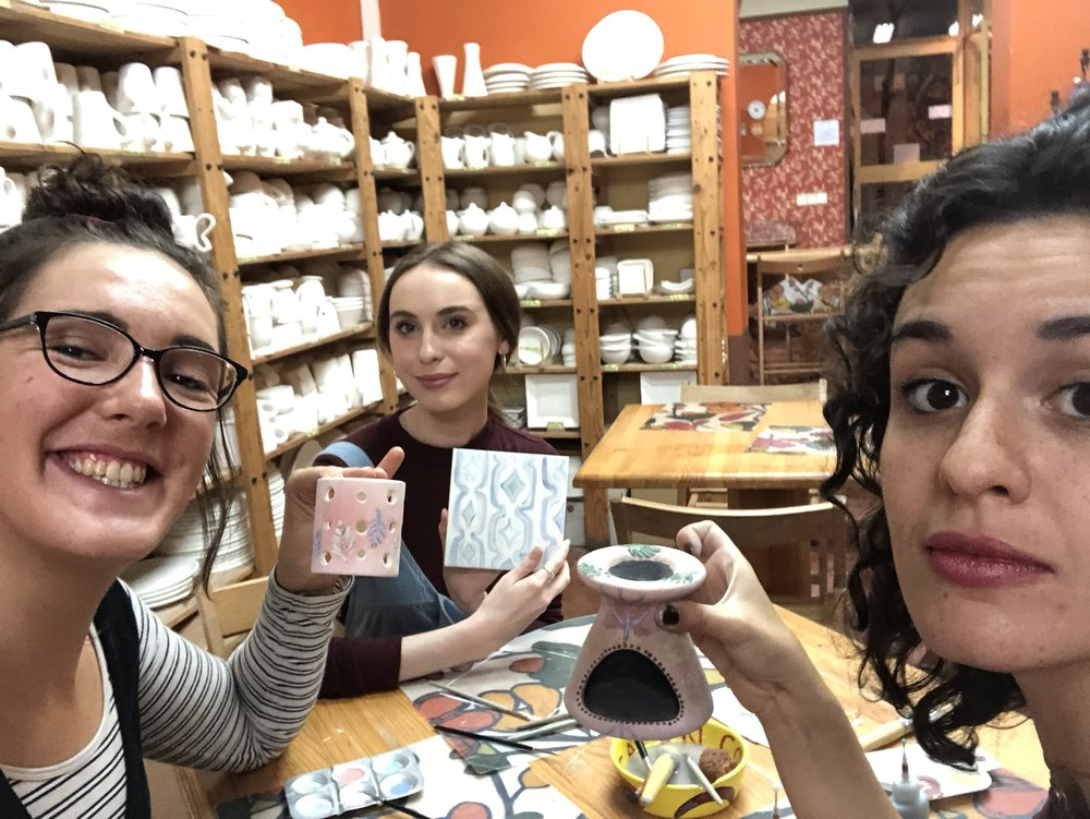 I dragged along two of my roommates to our pottery sesh.