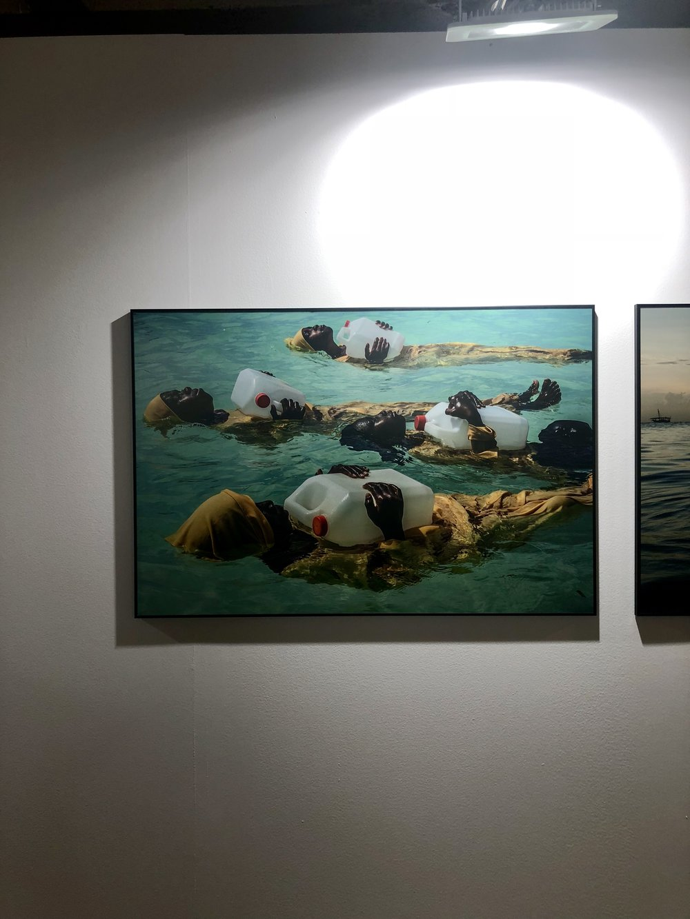 One of the more uplifting photos from the exhibition, about girls in Africa learning to swim.