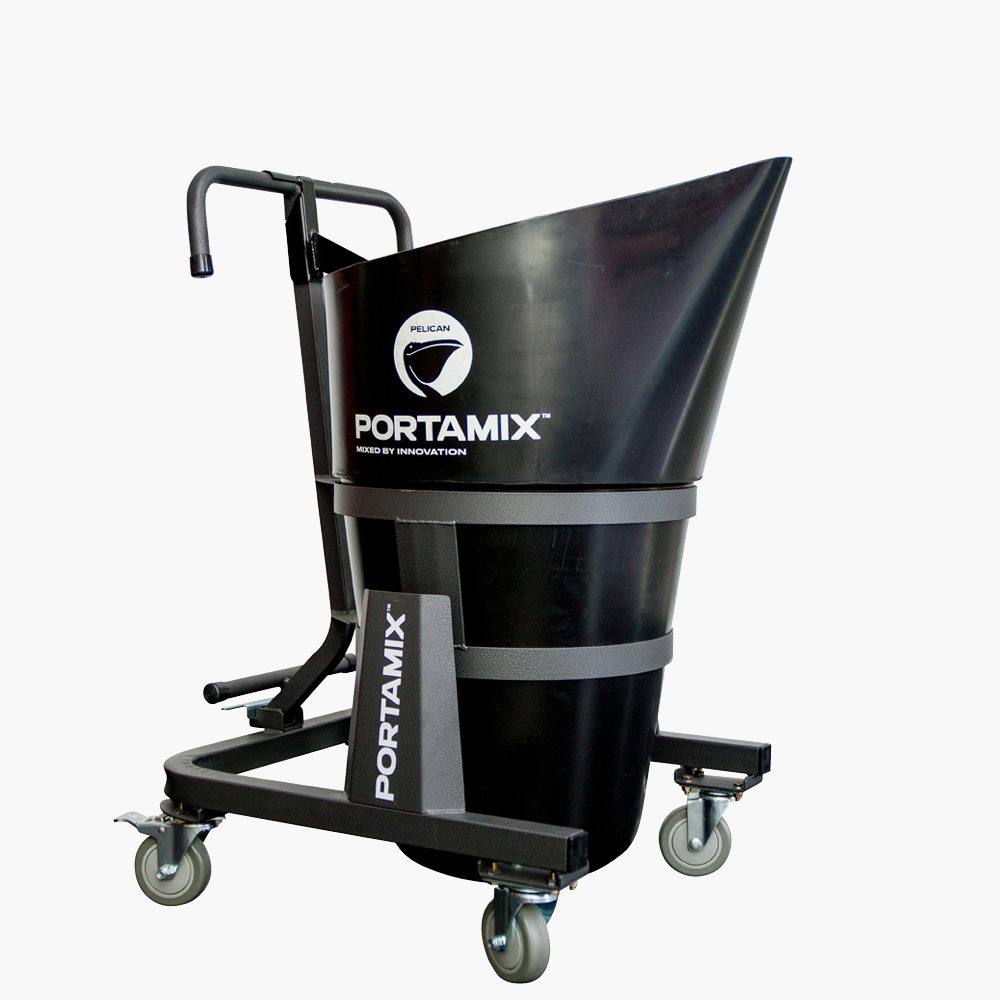 PMP80 Pelican Cart   The ultimate transport cart to compliment the Portamix Mega Hippo. If you want to move it and pour it – The Pelican!