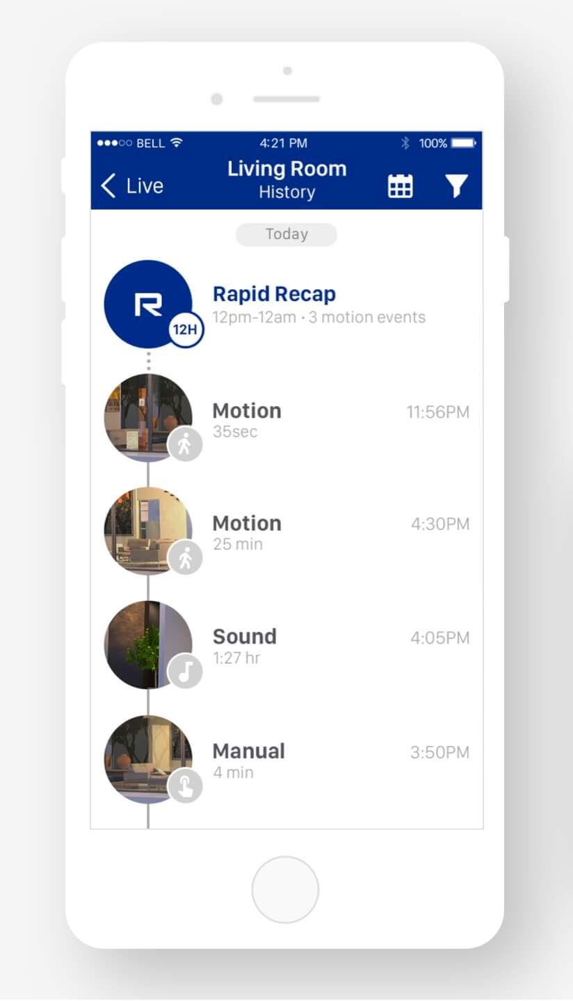 EVENTS TIMELINE. - The timeline-based design helped users to easily navigate through motion and sound events that were triggered by the camera.