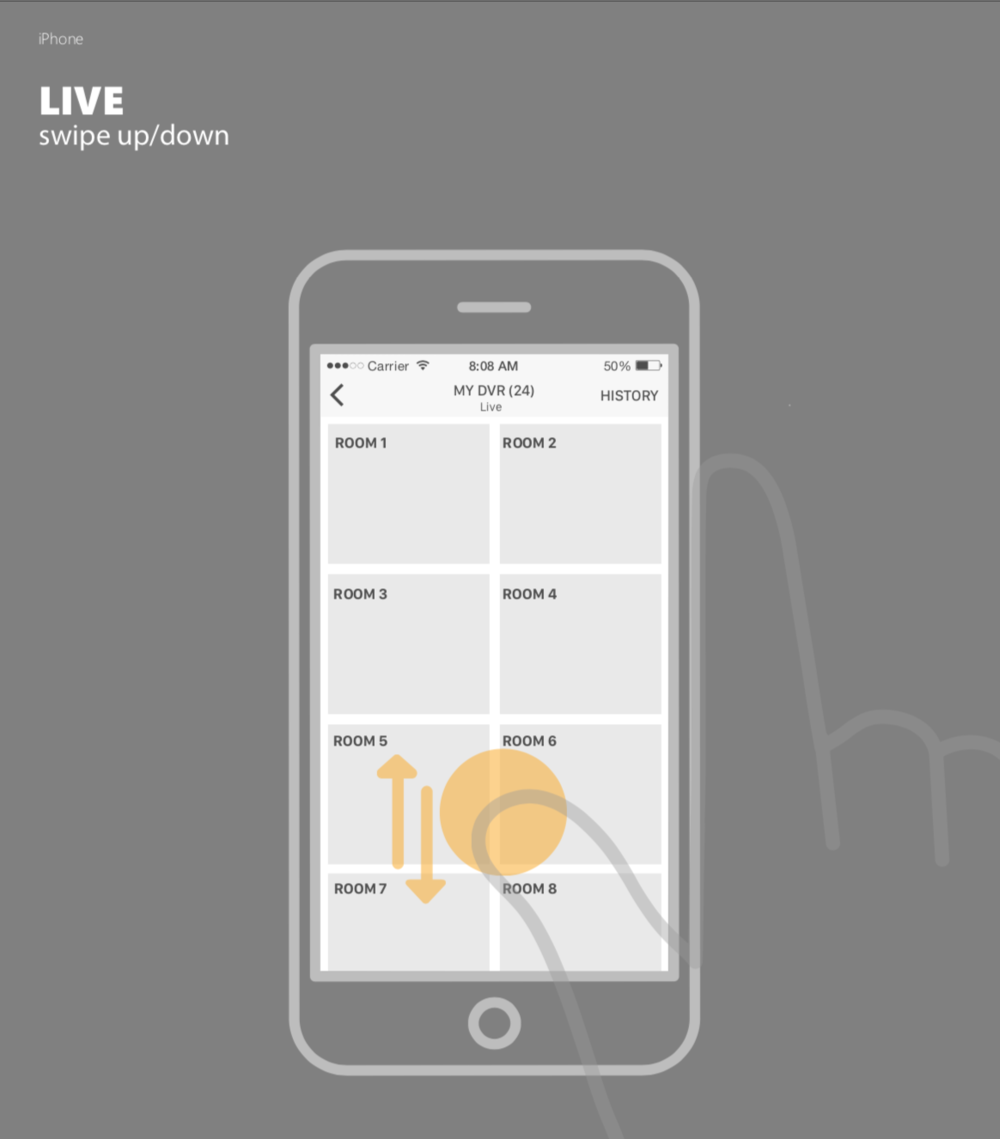 INTERACTION CONCEPTS. - Using prototypes, we conceptualized and tested out multiple interaction patterns; enabling an intuitive transition from one camera to another,as well as rapid navigation between key sections of the app.