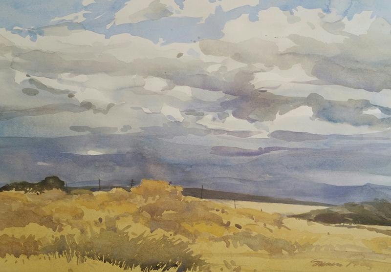 Susan Petty,  Distant Virga , watercolor, 20×28 in.